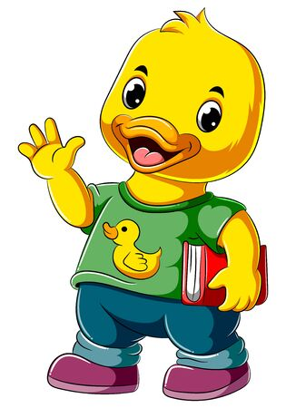 illustration of Cartoon happy duck holding book