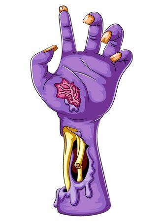 Illustration der Karikatur einer lila Zombiehand Vektorgrafik
