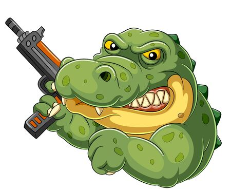 illustration of Strong and angry cartoon crocodile holding an gun