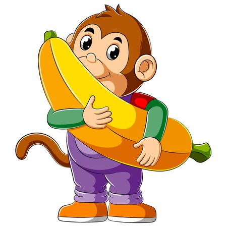 Illustration des Cartoon-Affen, der große Banane hält