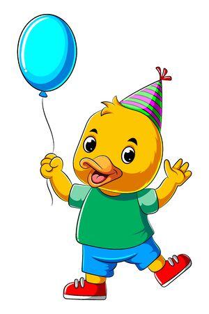 illustration of Cartoon happy duck holding balloon 스톡 콘텐츠