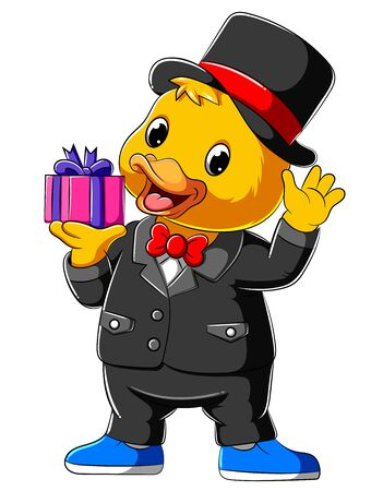 illustration of Cartoon duck in full suit and holding gift Zdjęcie Seryjne