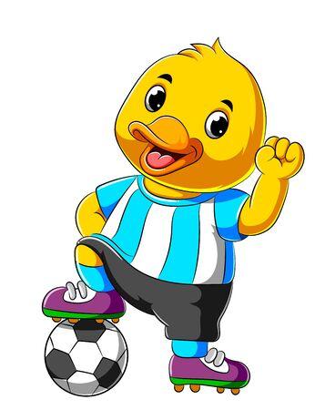 illustration of Cartoon happy duck playing soccer ball