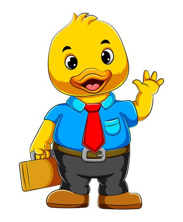 illustration of Cartoon business duck in full suit and holding suit case