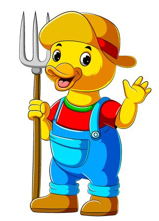 illustration of Cartoon farmer duck holding pitchfork