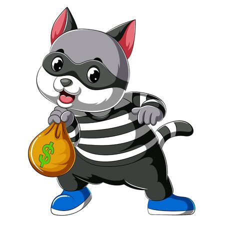illustration of Cartoon cat thief dressed in dark mask holding big bag stolen more moneys and coins