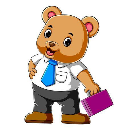illustration of Cartoon business bear holding suit case