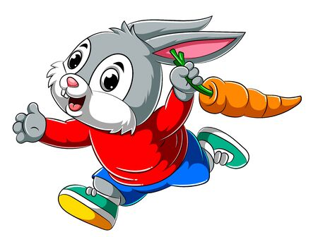 illustration of Cartoon happy rabbit running and holding big carrot