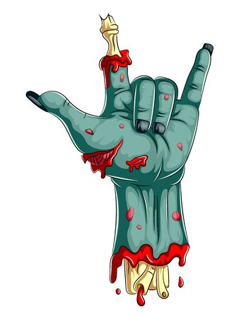 illustration of Scary zombie hand isolated on white background Foto de archivo - 128643494