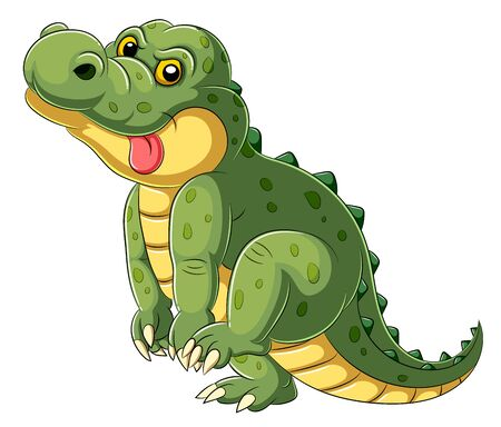 illustration of Cartoon a big alligator with tongue hanging out Stok Fotoğraf