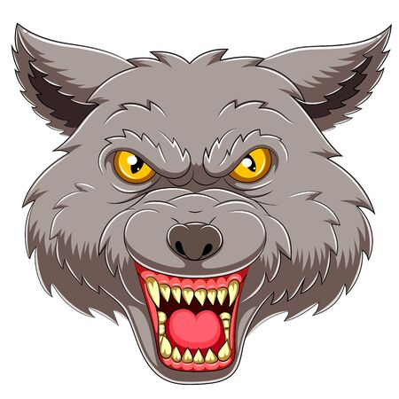 Wolf head emblem mascot of illustration
