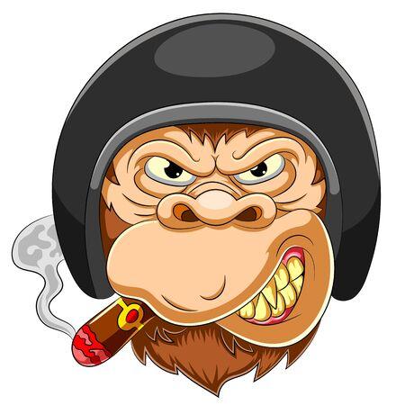 Scary Monkey wearing helmet of Racer of illustration