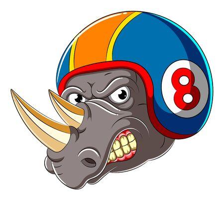 Angry rhino wearing helmet of Racer of illustration