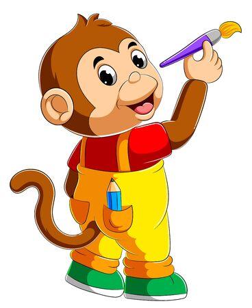 Cute monkey holding paint brush of illustration Stock Illustratie