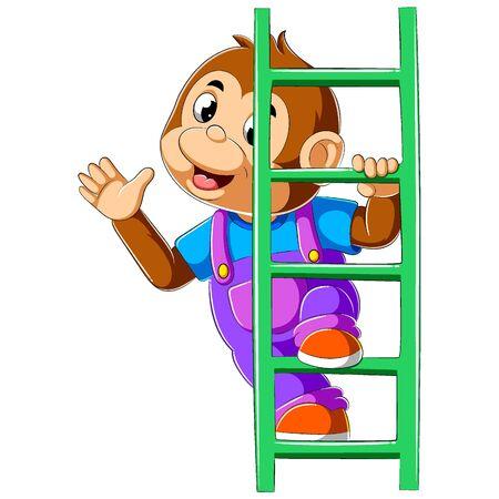 Monkey climbed high up ladder of illustration
