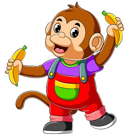 Cute Monkey holding two banana of illustration