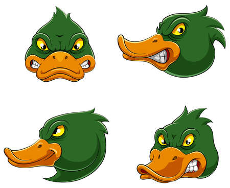 Set collection of angry duck Mascot of illustration 向量圖像