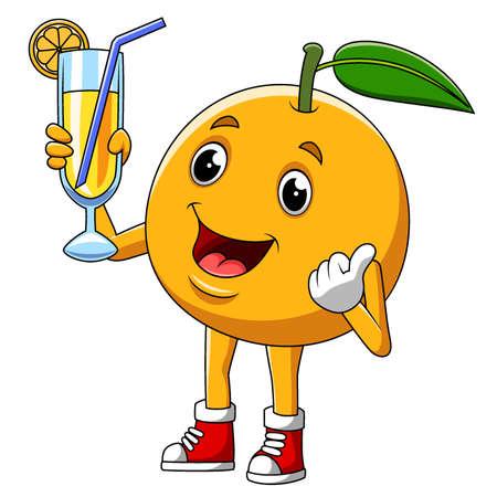 Cartoon character of an cute orange fruit of illustration 矢量图像