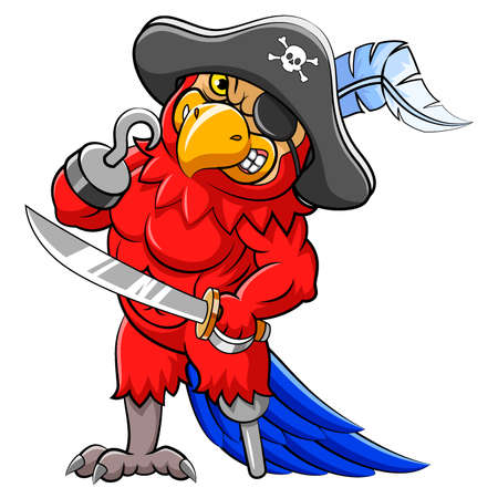 Angry parrot pirates cartoon holding sword of illustration Vetores