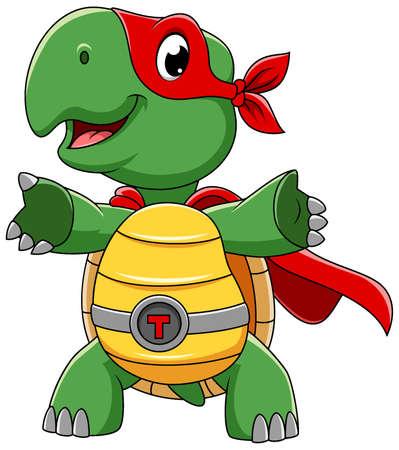 Smiling superhero turtle cartoon character of illustration Illustration
