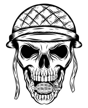 Skull in the soldier helmet of illustration Ilustración de vector
