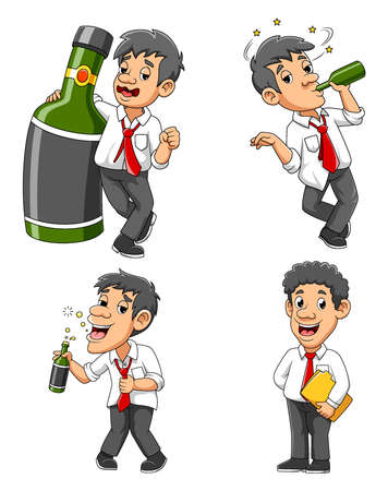 Drunk Businessman With Green Alcohol Bottle of illustration Vettoriali