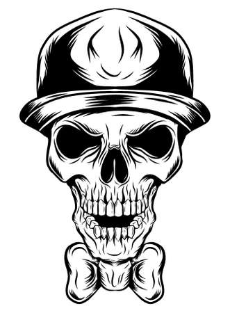 Skull of a clown in a hat of illustration