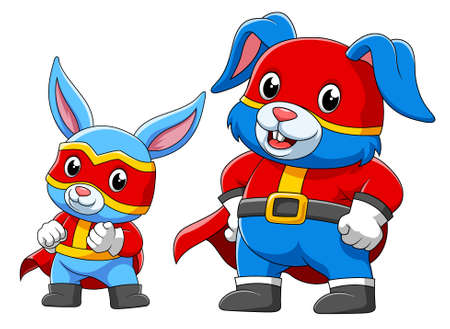 Two rabbit in a superhero costume of illustration