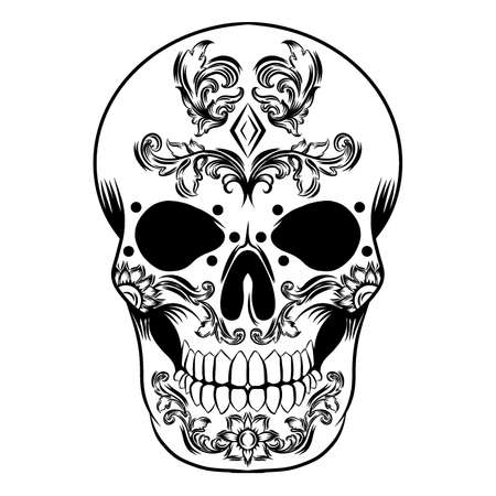 The tattoos illustration of a day of the dead skull with the diamond