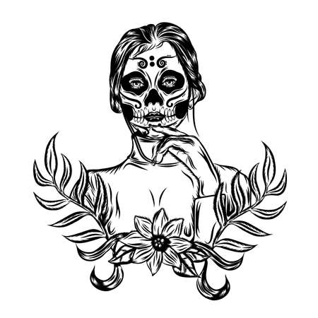 The tattoo illustration with scare a day of the dead face art inspiration