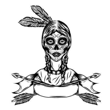 The tattoo illustration of the indian women with the arrow frame