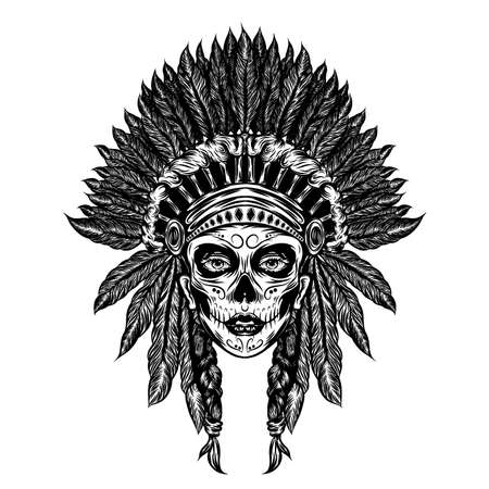 The tattoo illustration of the girl uses the indian traditional hat