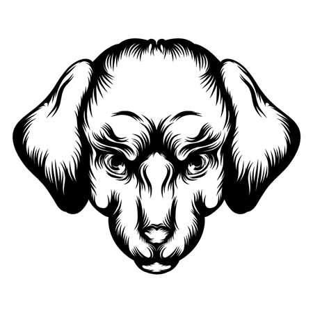 The tattoo animation of the labrador's head of illustration