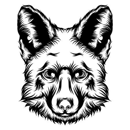 The animation of a dog tattoo illustration with the black outline