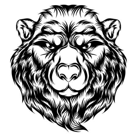 The illustration of the angry bear with the single head for the tattoo ideas