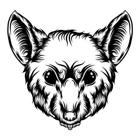 The illustration of the big shrink tattoo with the sharp teeth