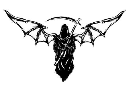 The animation of the black grim reaper with the big bat wings