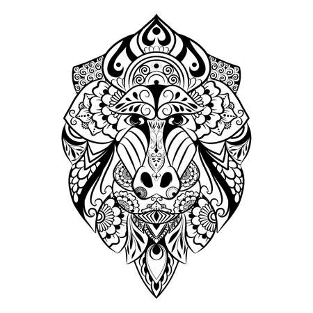 The hand draw of the doodle art of mandrill for the tattoo inspiration