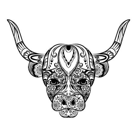 The illustration of the doodle art of the bull full of the flowers ornament Vetores
