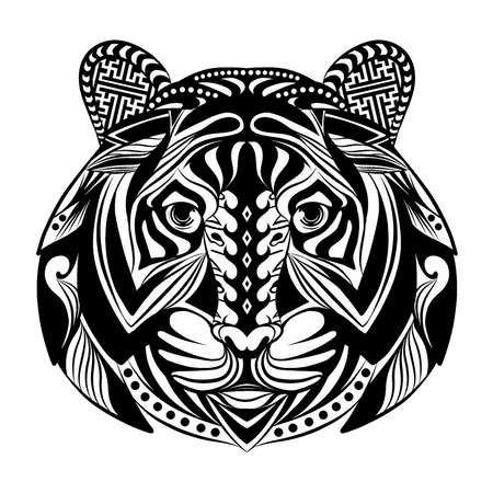 The doodle art of tiger full of the ornament for the tattoo inspiration Vektorové ilustrace
