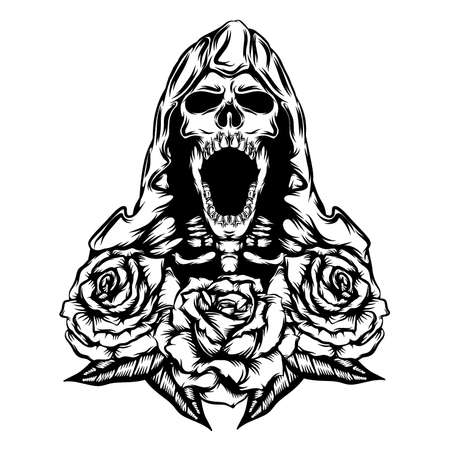The tattoo animation of the grim with the big mouth with the flower border