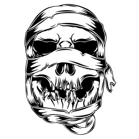 The animation of the mummy skull with the messy shroud for the tattoo illustration