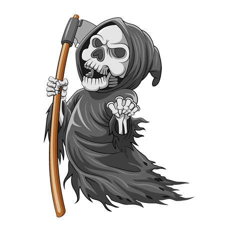 The cartoon of the grim reaper with bone and holding the scythe full of color