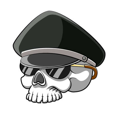 The cartoon of the dead head skull police using the sunglasses for the story book illustration