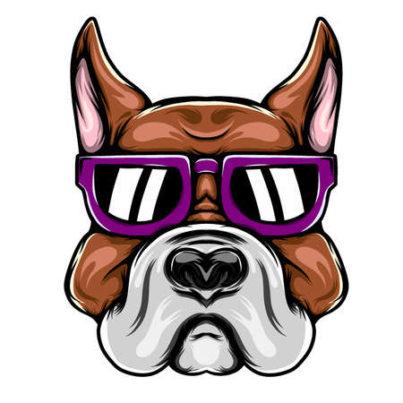 The illustration of the big head pitbull for the mascot inspiration with purple sunglasses