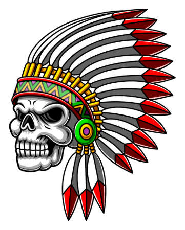The cartoon of the scary silver skull head using the Indian hat for the mascot inspiration Vector Illustratie