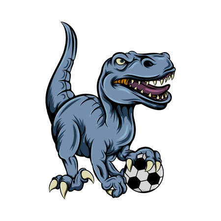 The illustration of the dinosaur playing the football for the football club mascot inspiration Ilustração