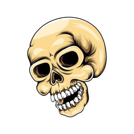 The illustration of the death head skull with the big smile from the side shoot