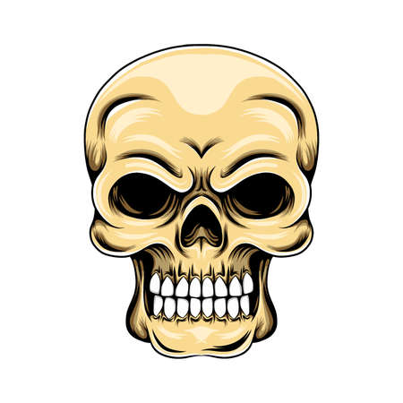 The illustration of the skull grunge with the white teeth and lose eyes posed by the front of head
