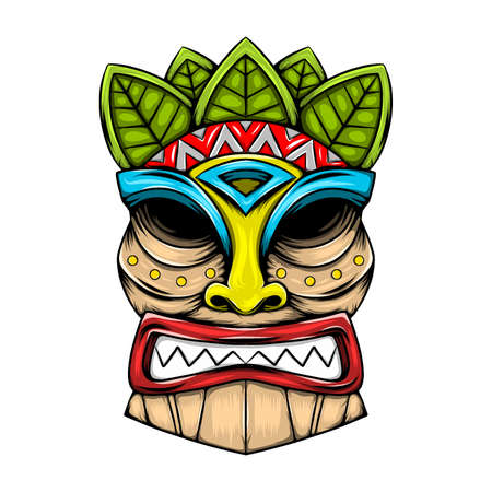 The illustration of the traditional tiki island mask made from the wood with the leaves accent